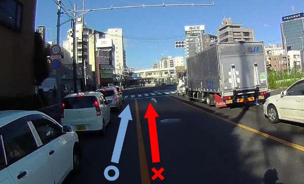 左車線内の右側にスペースがあれば走行可能です。