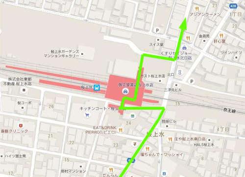 駅の改札連絡通路を使って進みます。
