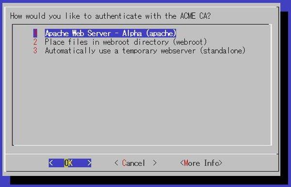 apacheを利用しているので、apacheを選んでEnterで進みます。