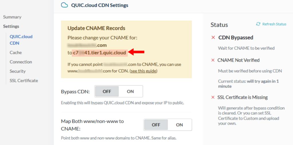CNAMEレコードの値をコピーします