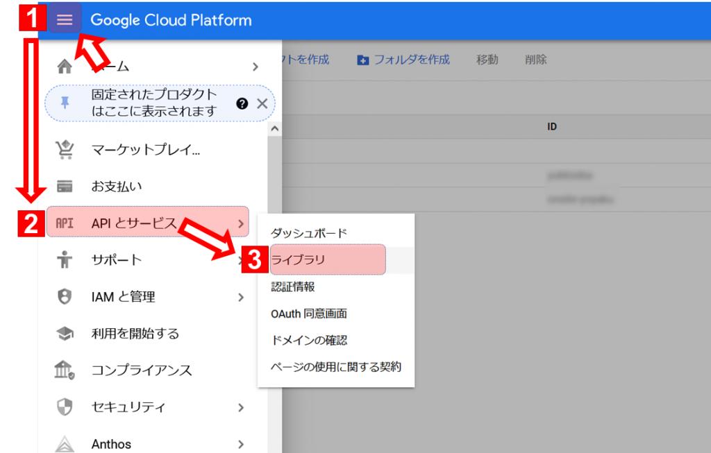 APIとサービス⇒ライブラリ を開く