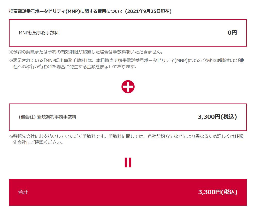 MNP事務手数料が3300円